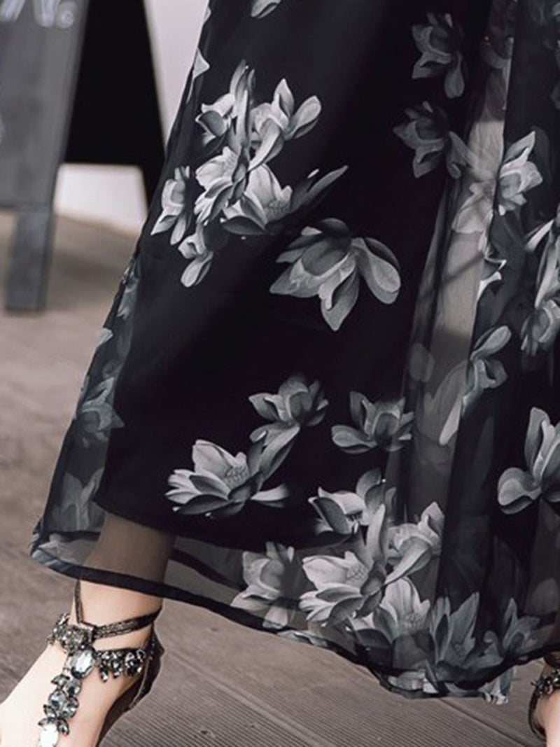 Loose Print Floral Wide Legs Full Length Casual Pants