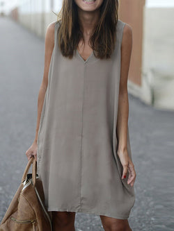 V-Neck Knee-Length Hollow Travel Look Plain Dress