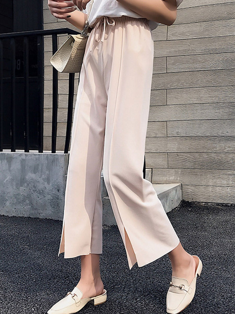 Plain Split Loose High Waist Ankle Length Casual Pants