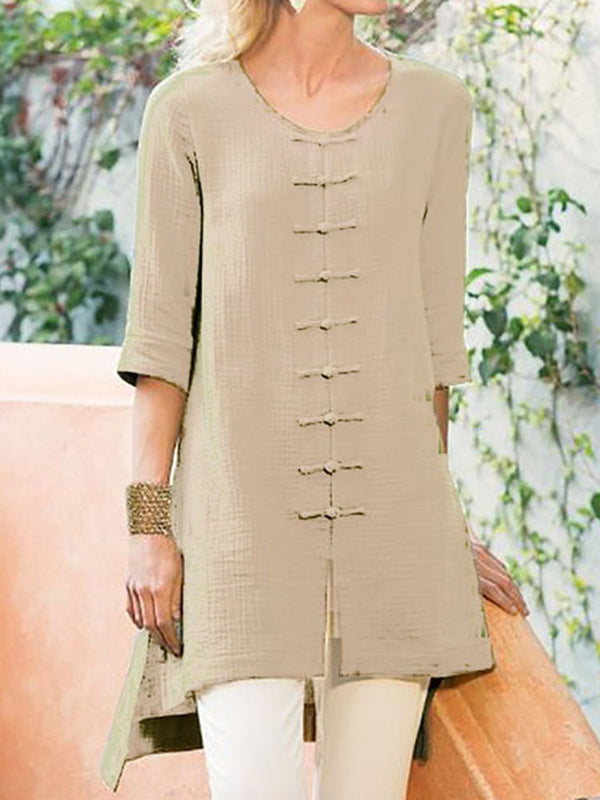 Plain Mid-Length Three-Quarter Sleeve Blouse