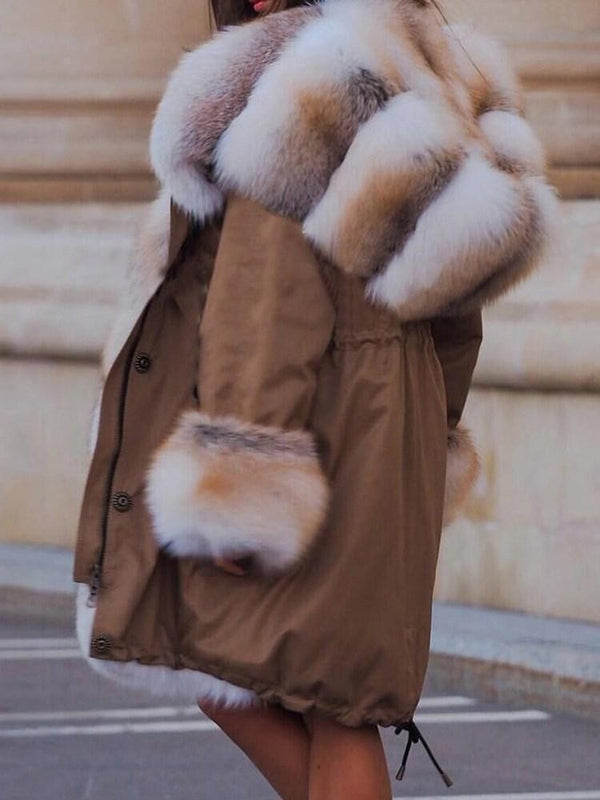 Color Block Long Regular Loose Thick Faux Fur Overcoat