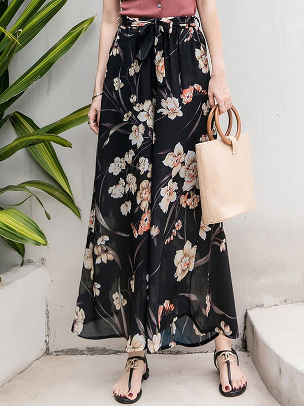 Plant Loose Print High Waist Wide Legs Casual Pants