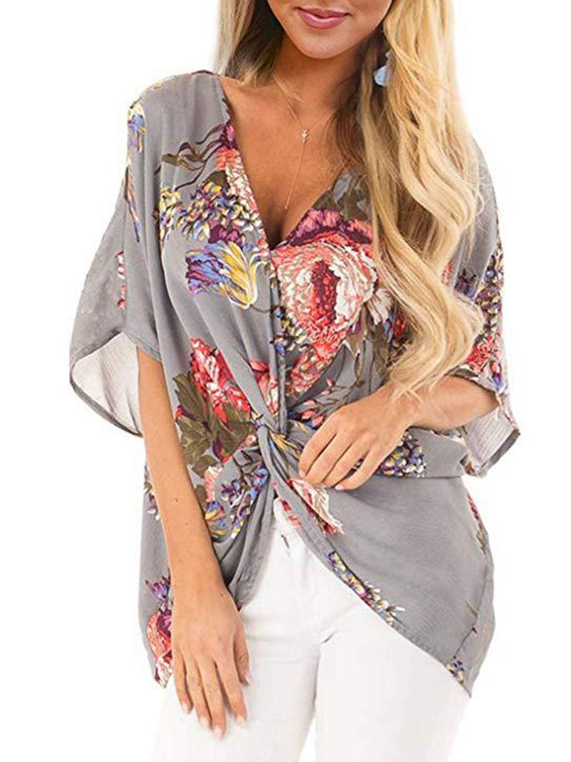 Floral V-Neck Asymmetric Mid-Length Half Sleeve Blouse