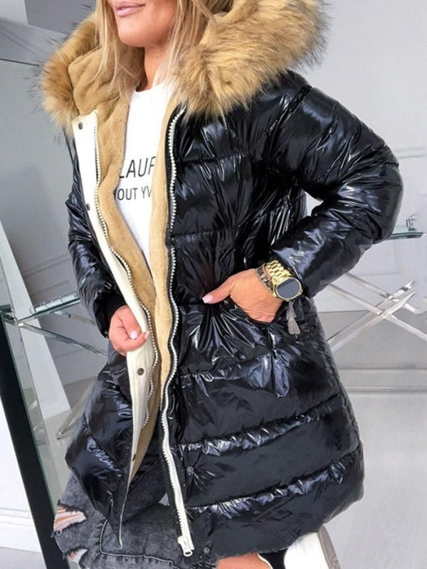 Thick Zipper Loose Mid-Length Cotton Padded Jacket