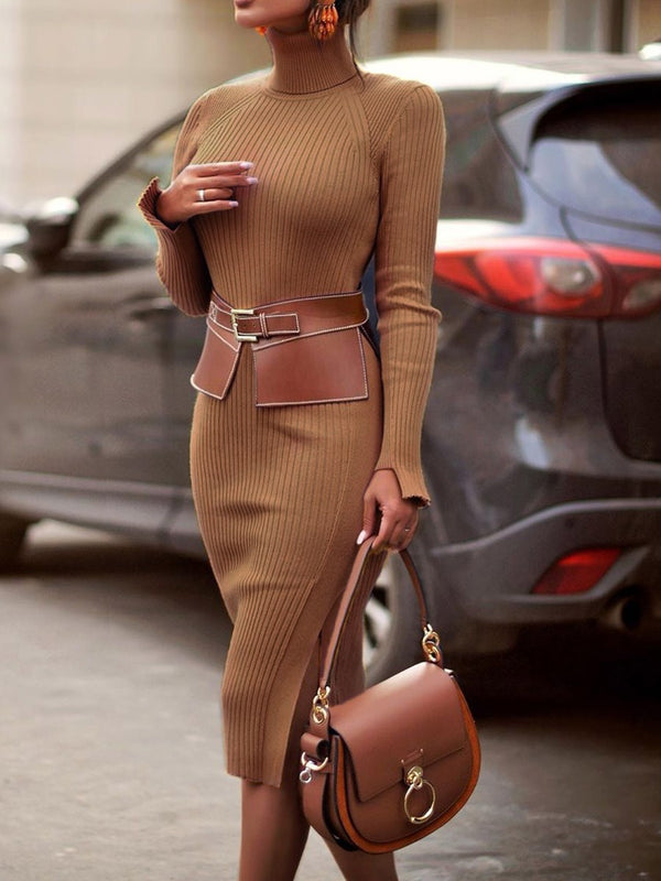 Long Sleeve Turtleneck Mid-Calf Sheath Regular Dress