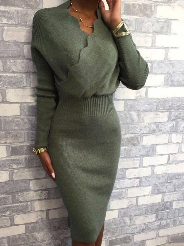 V-Neck Mid-Calf Nine Points Sleeve Plain Bodycon Dress