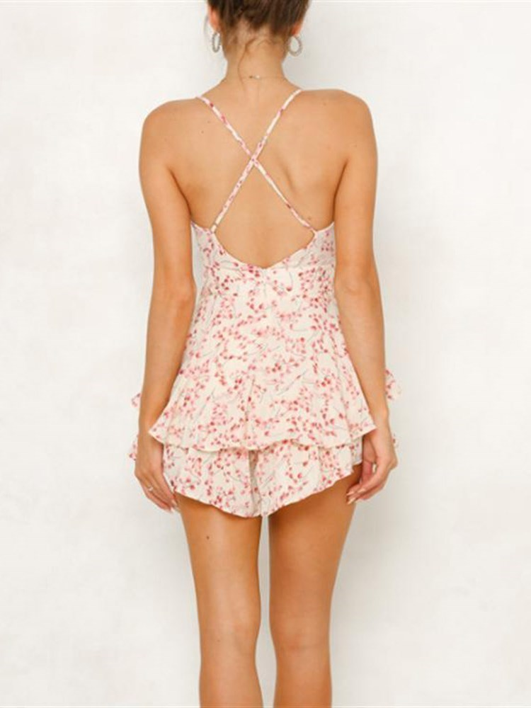 Floral Shorts Sexy Slim High Waist Jumpsuit