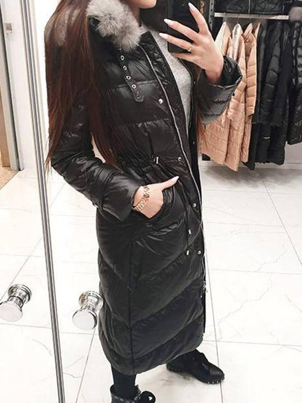 Loose Patchwork Zipper Long Cotton Padded Jacket