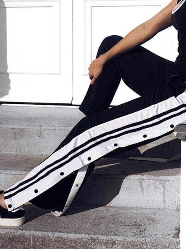 Color Block Button Loose Full Length Casual Pants