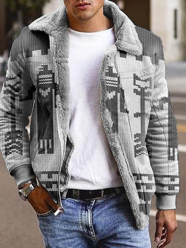 Color Block Lapel Print Winter Loose Jacket