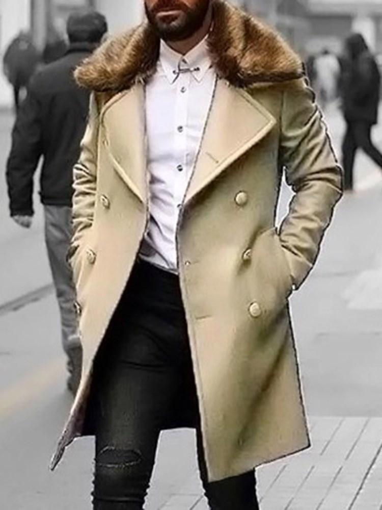 Plain Pocket Long Fashion Double-Breasted Coat