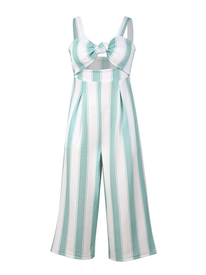 Mid-Calf Sexy Stripe Wide Legs Loose Jumpsuit