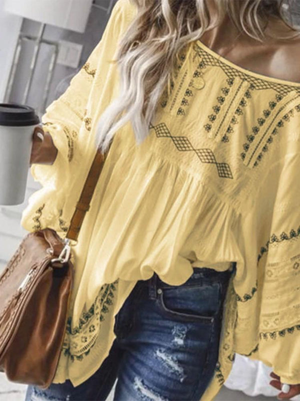 Hollow Off Shoulder Color Block Long Sleeve Mid-Length Blouse