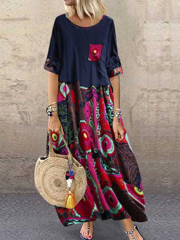Round Neck Ankle-Length Print A-Line Pullover Dress
