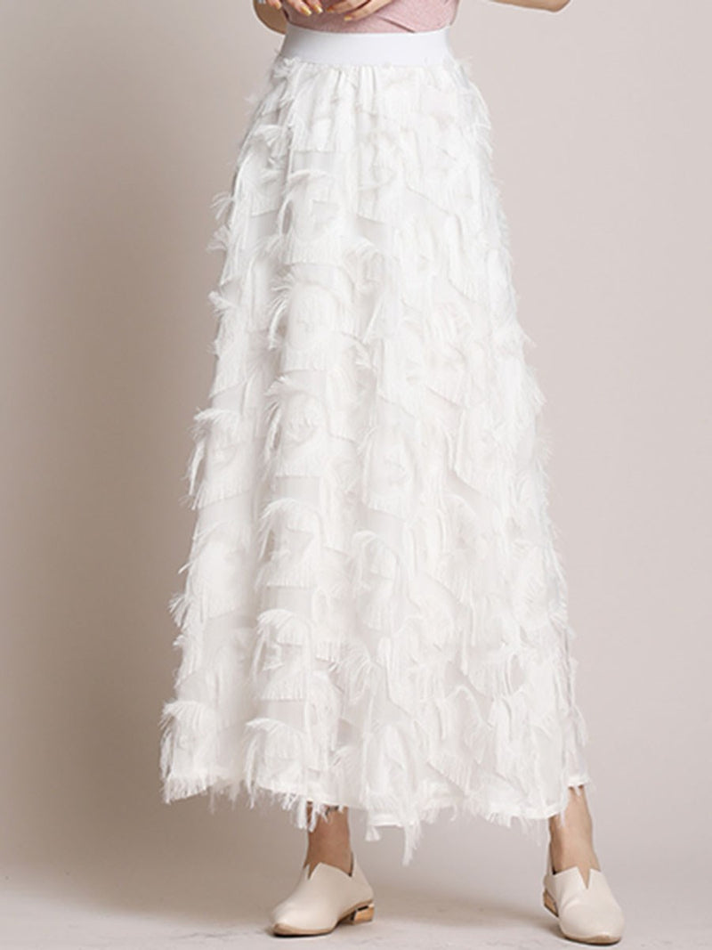 Feather Mid-Calf Plain Sweet High Waist Skirt