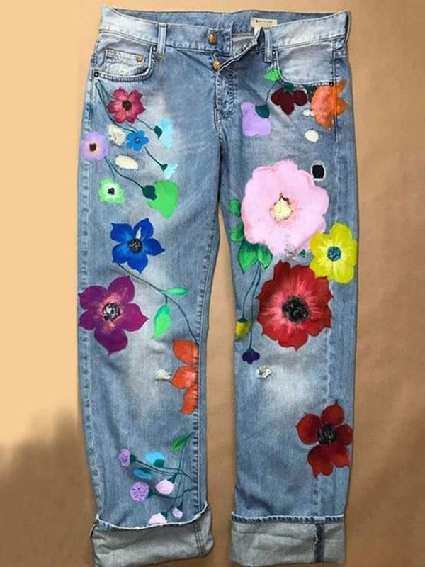 Print Straight Floral Loose Zipper Jeans