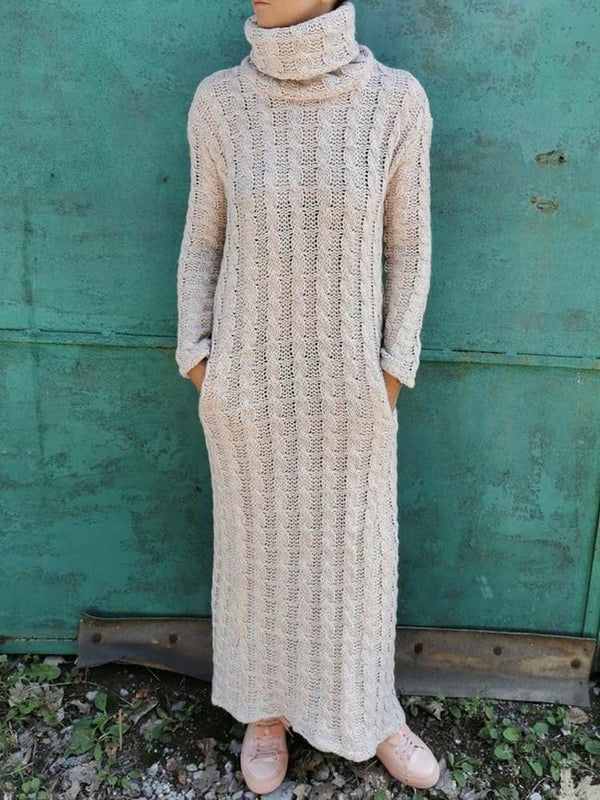 Long Sleeve Ankle-Length Turtleneck Straight Pullover Dress