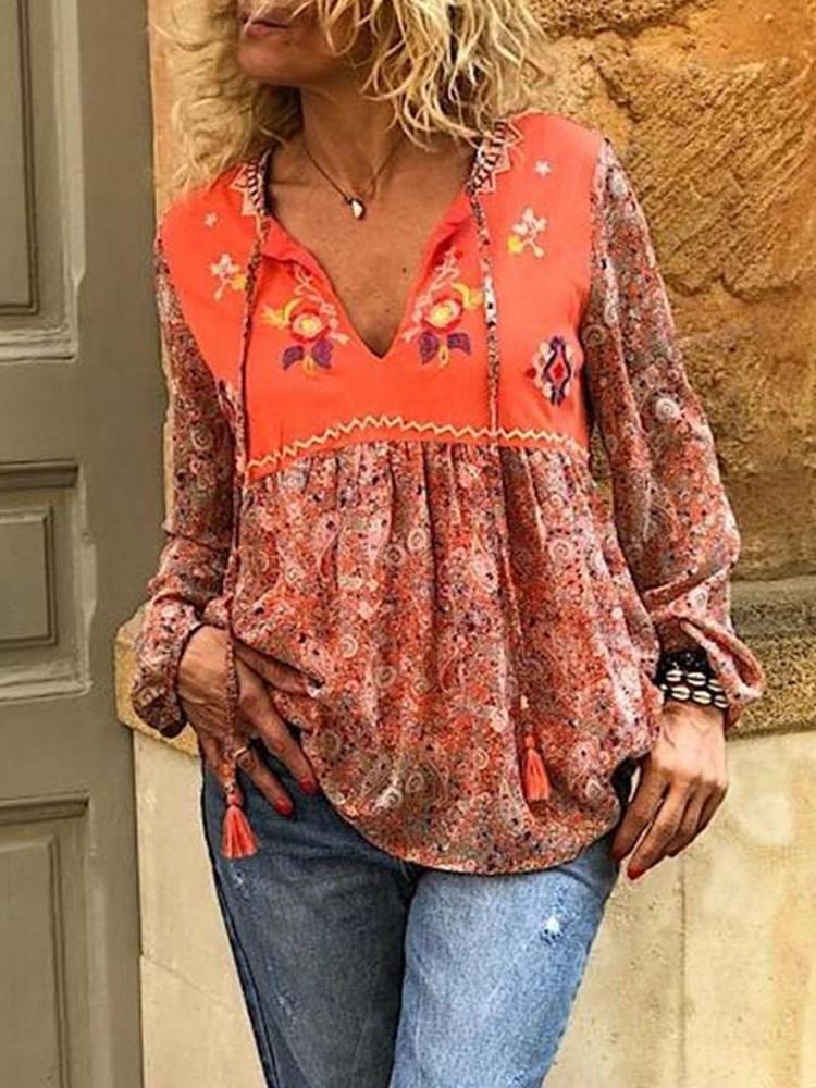 V-Neck Regular Lace-Up Long Sleeve Mid-Length Blouse