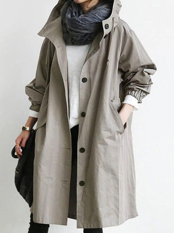 Single-Breasted Pocket Long Loose Long Sleeve Trench Coat