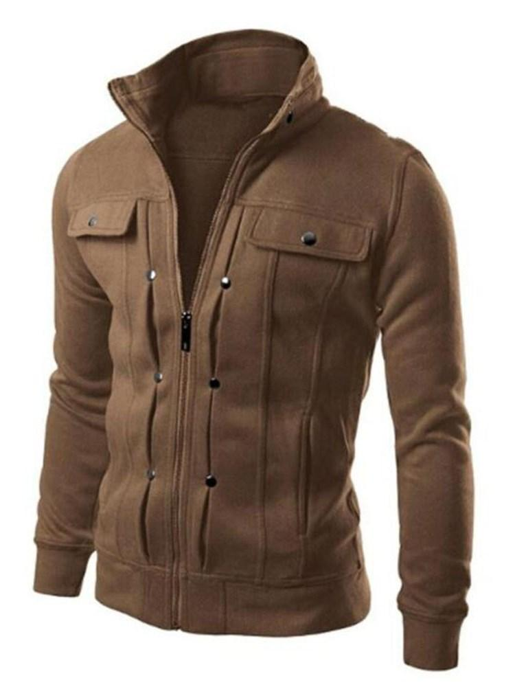 Plain Zipper Stand Collar Loose Casual Jacket