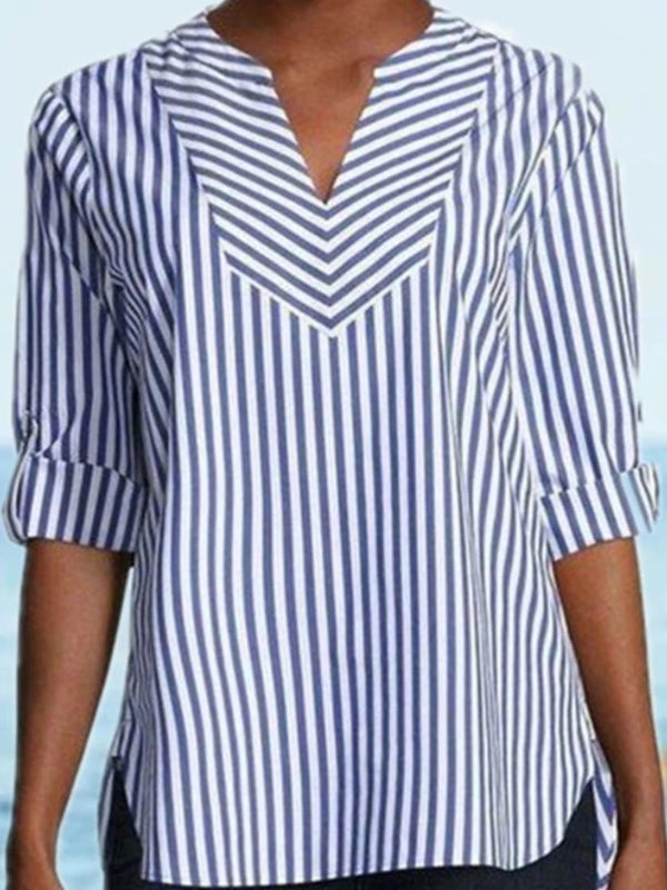 V-Neck Stripe Standard Three-Quarter Sleeve Blouse