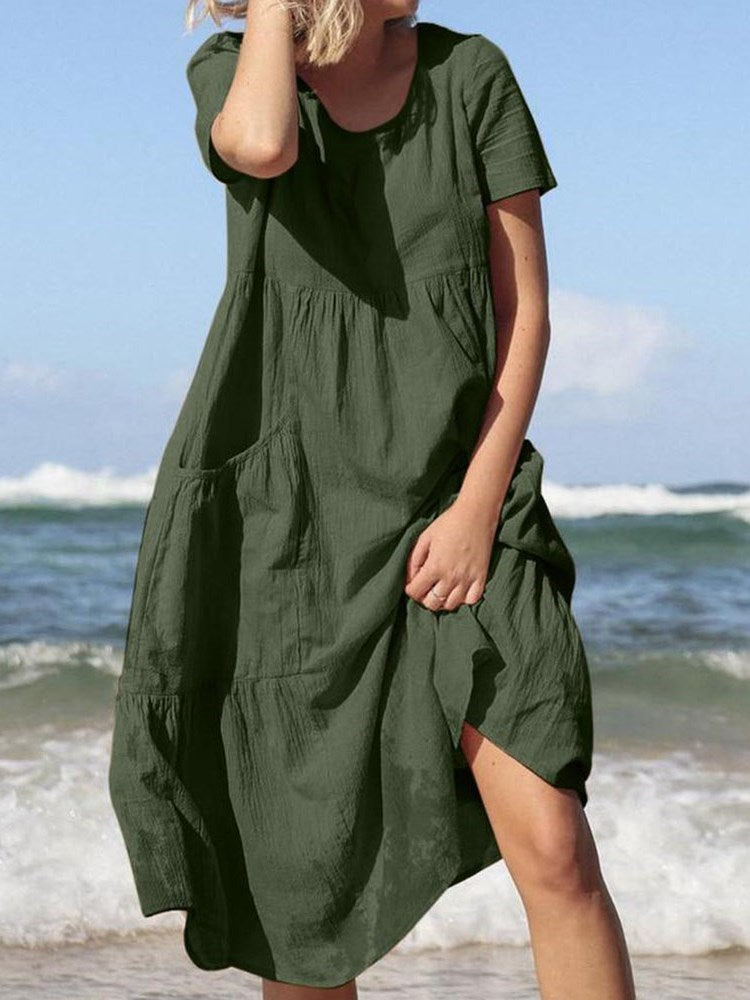 Pocket Mid-Calf Short Sleeve Plain Pullover Dress