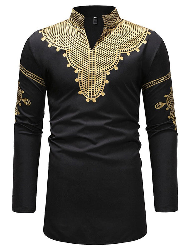 Stand Collar Print African Ethnic Style Fall Loose Shirt