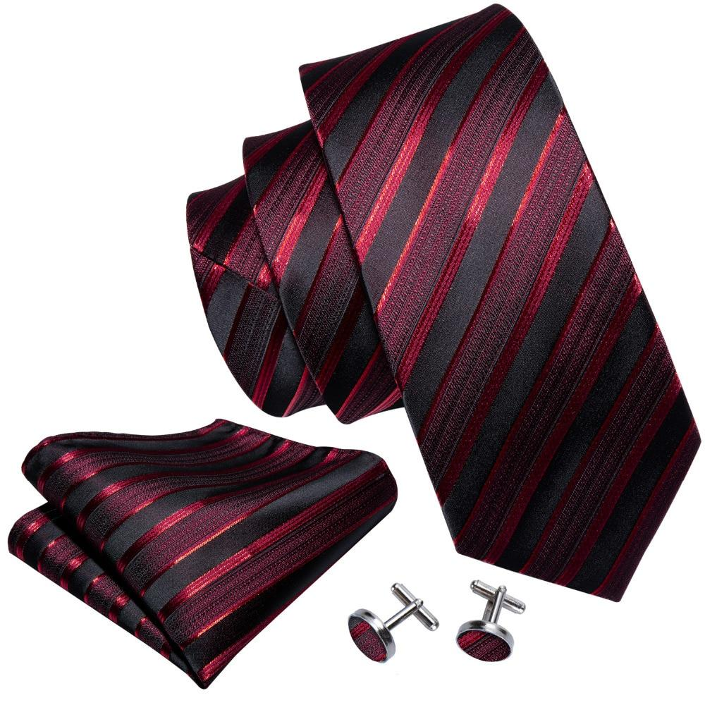 Red Striped Barry Wang Groom Tie