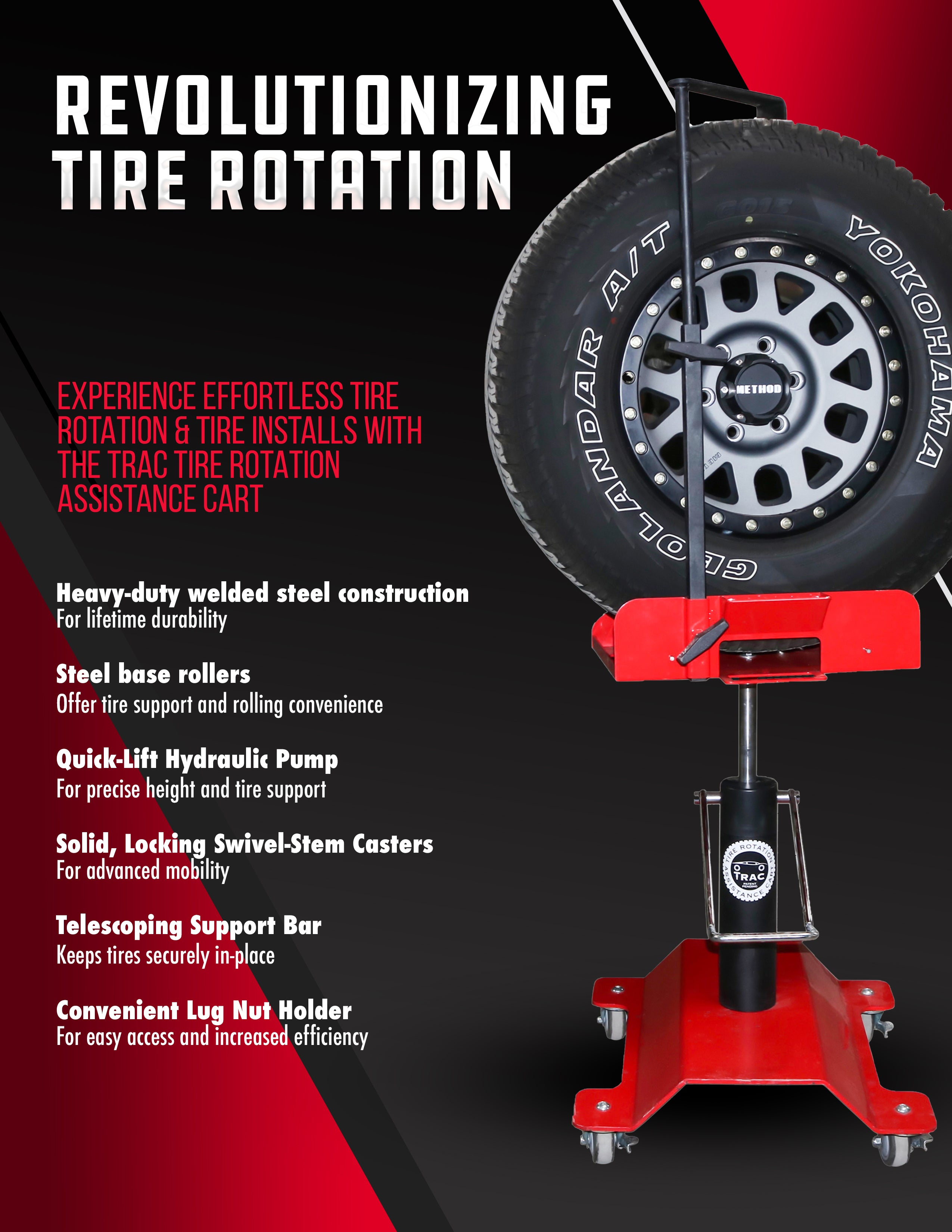 TRAC Tire Rotation Assistance Cart - Fast, Efficient, Safe Tire Rotations and Installs