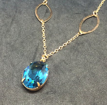 Rose Gold Necklace with Large Blue Zircon Rhinestone