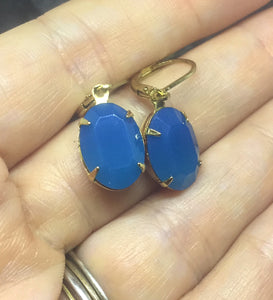 Large Capri Blue Opal Oval Earrings