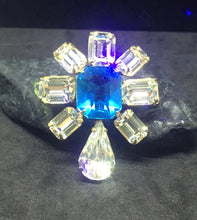 Wee Flower Brooch with Blue Zircon Center