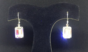 Large Clear Octagon Earrings