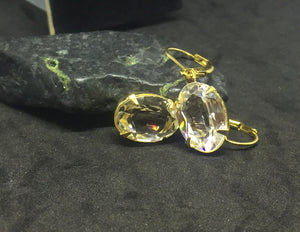 Large Clear Oval Earrings