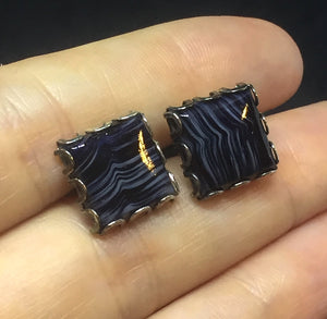 Classic Black Marbled Square Cufflinks