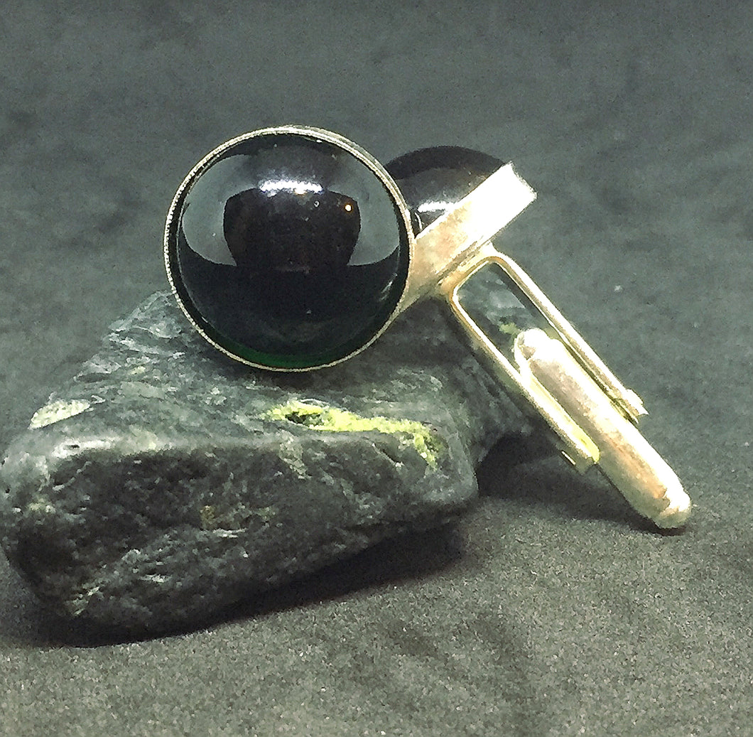 Large Dark Green Cabochon Cufflinks