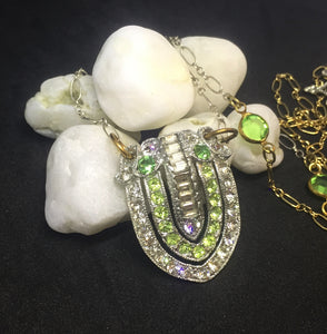Vintage Dress Clip Necklace Conversion in Mixed Metals - Peridot