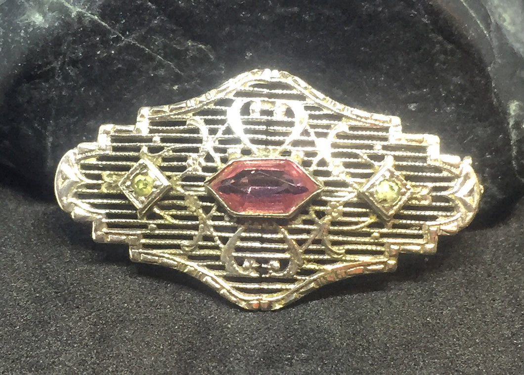 Edwardian pin with Rose Hexagon Stone