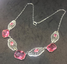 Edwardian Steel Cut Filigree Necklace with Rose Rhinestones