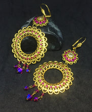 Vintage Filigree with Fuchsia Rhinestones and Crystals