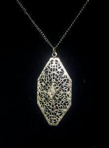 Edwardian Era Cut Steel Filigree Lavaliere