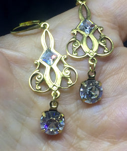 Vintage Art Nouveau Filigree with Round Rhinestone Drop