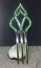 Black & White hand painted Comb with Emerald Rhinestones