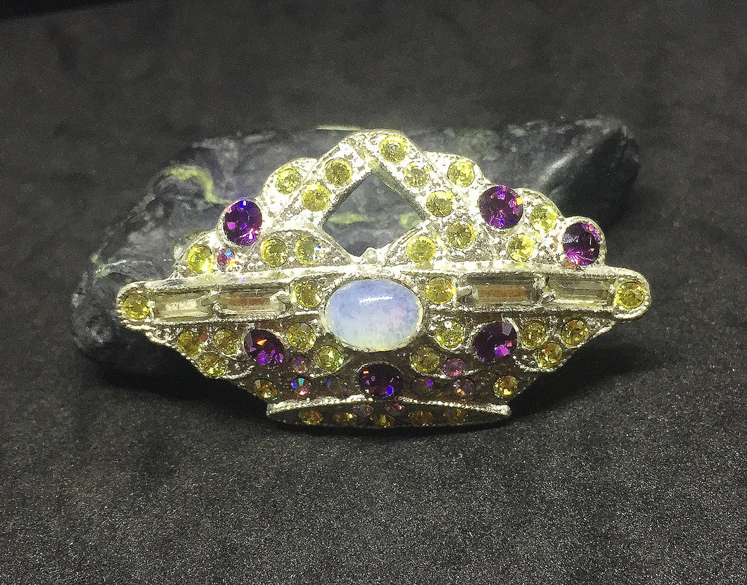 Crown Brooch in Amethyst, Jonquil and a Moonstone Cabachon