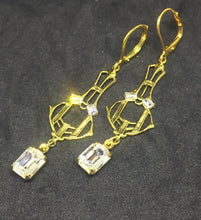 Vintage Deco Gold Filigree with Octagon Drop Stone