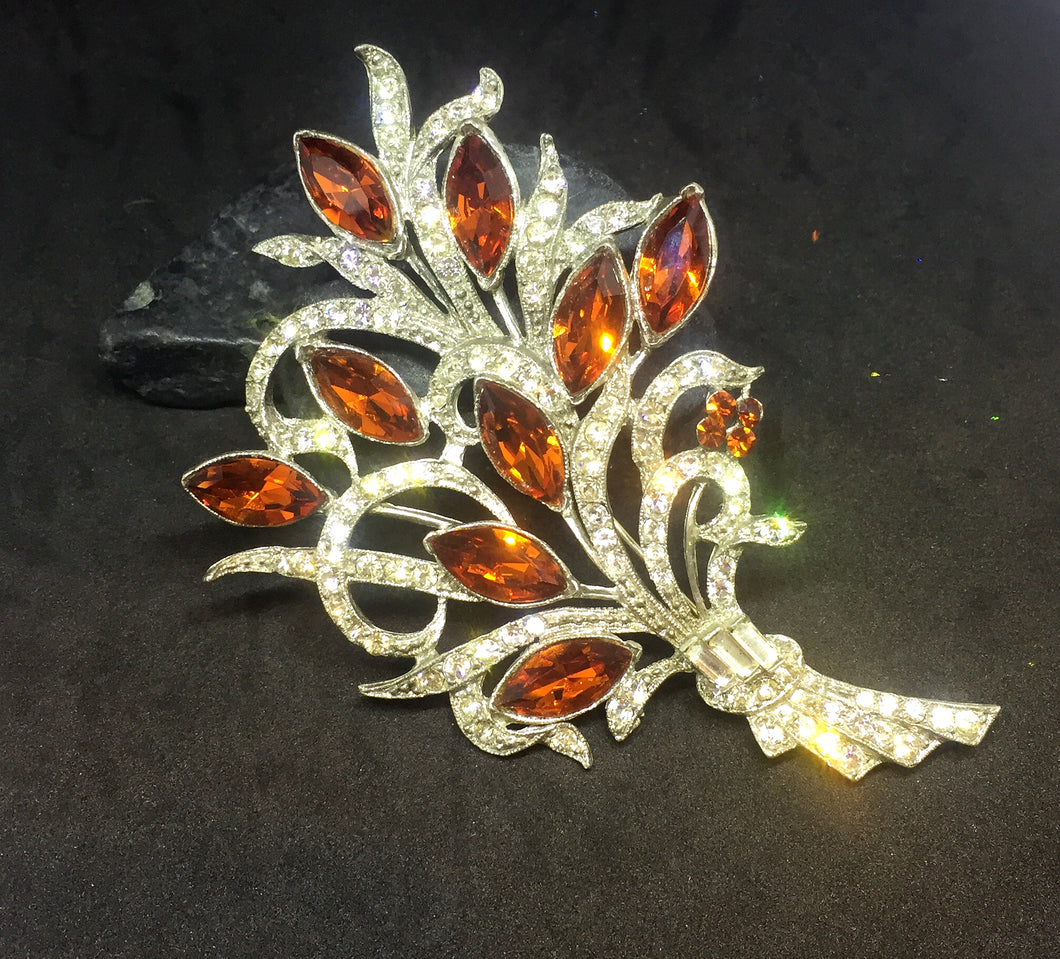 Large Smokey Topaz Bouquet Brooch