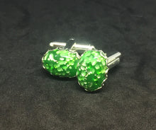 Mottled Green Glass Oval Cufflinks