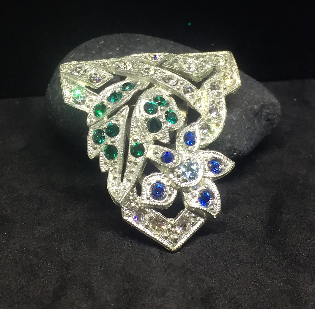 Art Nouveau Dress Clip with Emerald and Sapphire