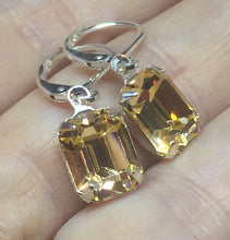 Swarovski Peach Octagon drop earring