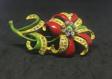 1930's Red Enamel & Rhinestone Flower Brooch
